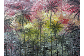 Pink Sky and Palm Trees - 2012 - Oil on Canvas - 30 x 40 in. (76.2 x 101.6 cm)